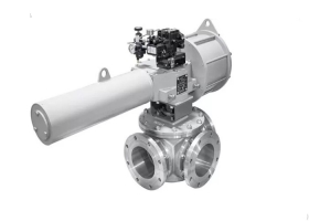 Single Acting Scotch Yoke Pneumatic Three-way Ball Valve
